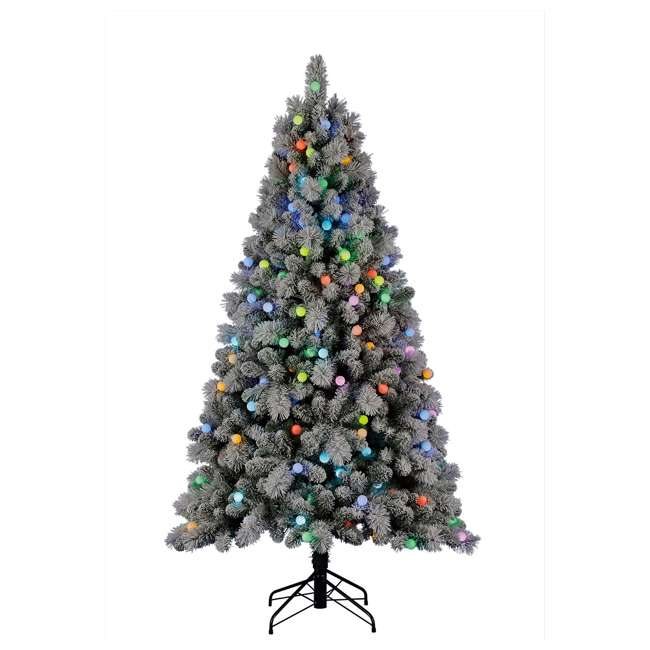 TG70M3W92P00 Home Heritage Cascade 7 Foot Flocked Prelit Artificial Christmas Tree w/ Stand