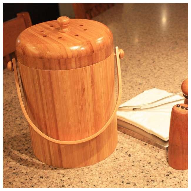 KA-BB3Q Good Ideas Portable 3-Quart Bamboo Kitchen Compost Pail w/ Odor-Blocking Filter 4