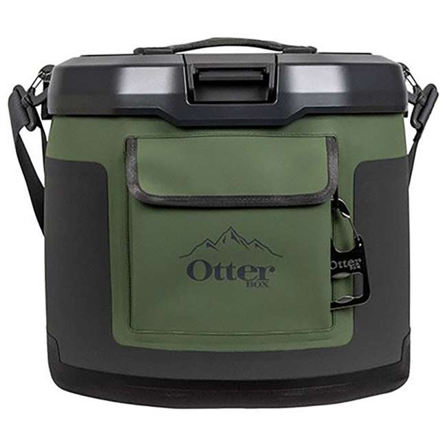 77-60673 OtterBox Trooper IP66 Leakproof Seal Portable 12 Quart Insulated Cooler, Green