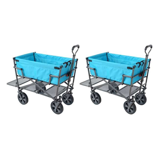 MAC-DD-107-BLUE Mac Sports Double-Decker Collapsible Yard Cart, Blue (2 Pack)