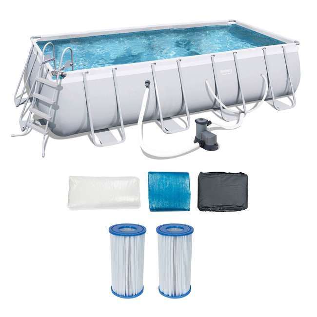 56536E-BW + 2 x 58012E-BW Bestway Above Ground Pool w/Ladder, Pump, and Cartridges (2 Pack)