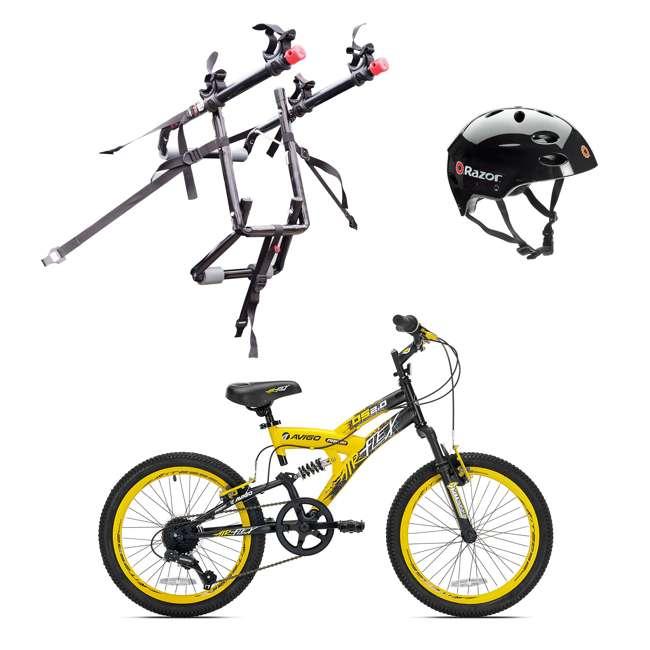 42084 + 102DN-R + 97778 Kent Bikes Avigo Air Flex Steel 20 Inch Boys BMX Bike & 2 Bike Car Rack & Helmet