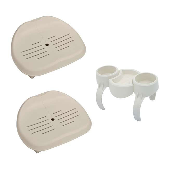 28502E + 58416-BW Intex Inflatable Pure Spa Hot Tub Removable Seat (2 Pack) + Drink & Snack Holder