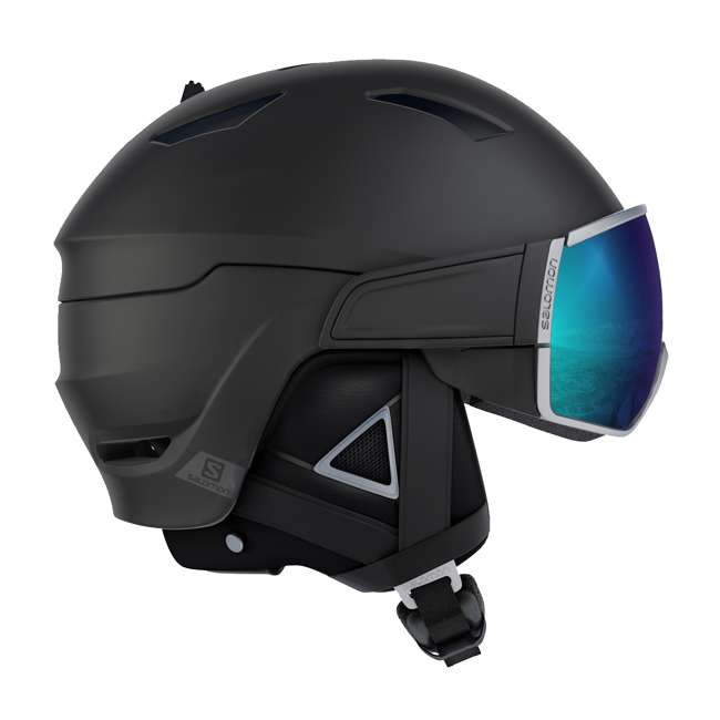 L39919362 Salomon Driver+ Mens Black & Silver Skiing Helmet with S1 & S3 Visors, Large
