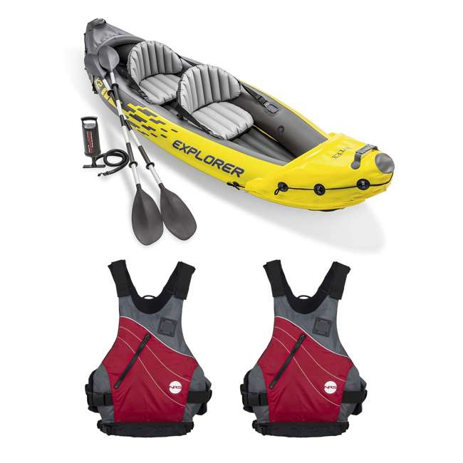 68307EP + 2 x NRS_40034_01_101 Intex Explorer Inflatable Kayak with Air Pump & Red Small Life Jacket (2 Pack)
