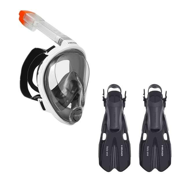 496325-WHBKS/M + 480203-SFBKSM Head Sea Vu Dry Full-Face Adult S/M Snorkel Swim Mask & S/M Fins