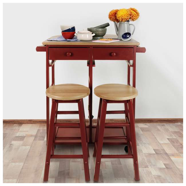 355-29 Casual Home Drop Leaf Hardwood Mobile Breakfast Cart with 2 Wooden Stools, Red 4