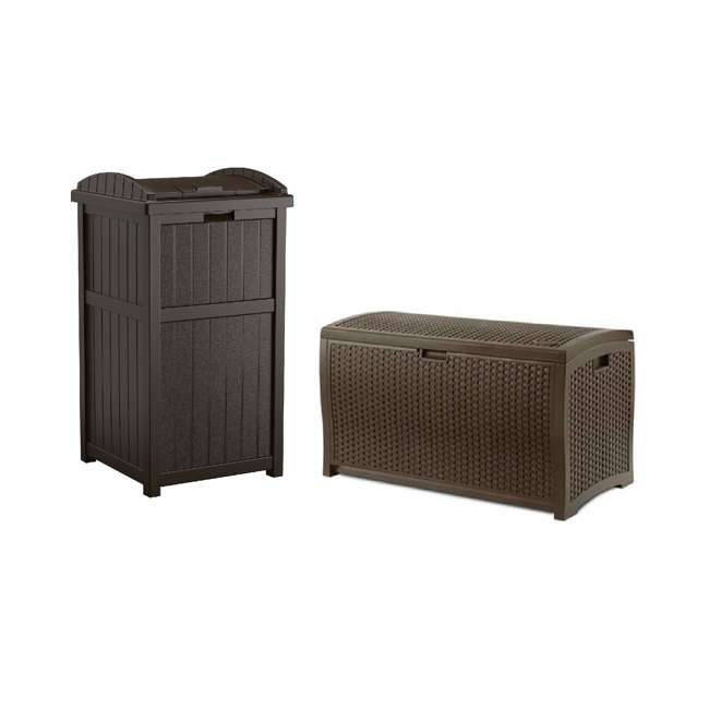 GH1732J + DBW7300 Suncast 33 Gal Hideaway Outdoor Trash Can and 73 Gal Waterproof Outdoor Deck Box