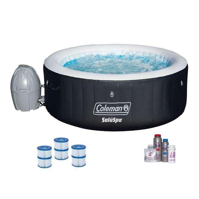 13804-BW + 3 x 90352E-BW + 45521A Bestway SaluSpa Hot Tub + Bromine Kit + Filter Cartridge (3 Pack)
