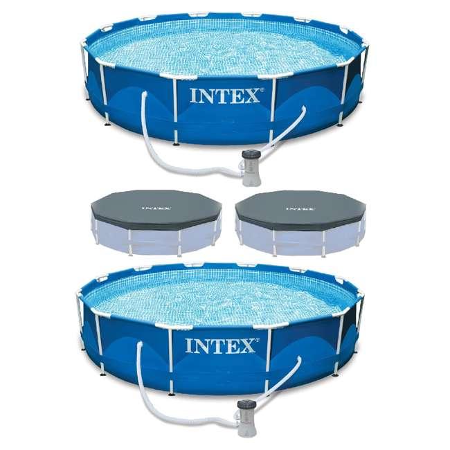 28211EH + 2 x 28031E Intex Metal Frame Swimming Pool with Filter Pump(2 Pack) & Debris Cover(2 Pack)