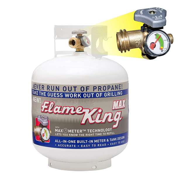 YSN230 Flameking Portable Empty LP Propane Gas Cylinder Tank with Fuel Gauge, 20 Pound