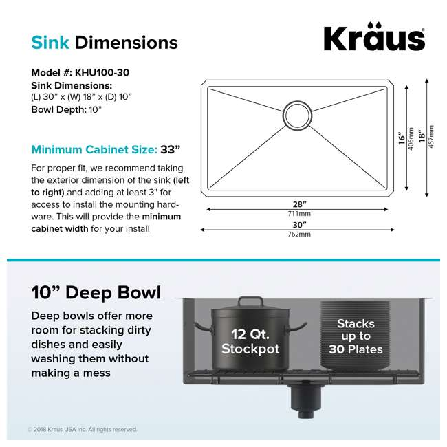 "KHU100-30-OB KRAUS Standart PRO 30""  Undermount Single Stainless Steel Sink (OPEN BOX) 5"