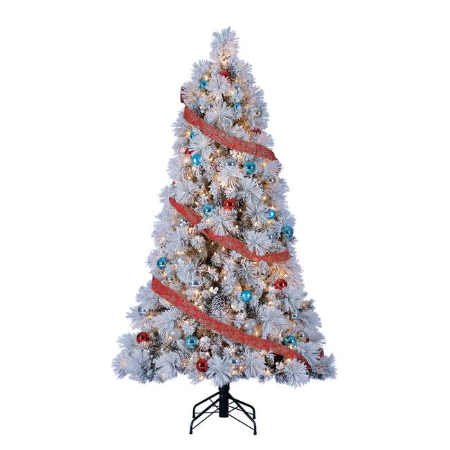 TG66M4E42S08 Home Heritage Snowdrift Spruce 6.5 Foot Flocked Christmas Tree with White Lights 2