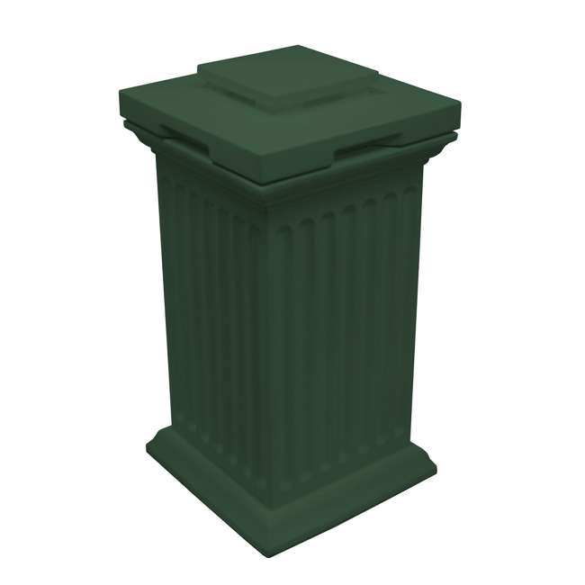 SV-COL-GRN Good Ideas Savannah Patio Outdoor Column 30 Gallon Storage and Waste Bin, Green
