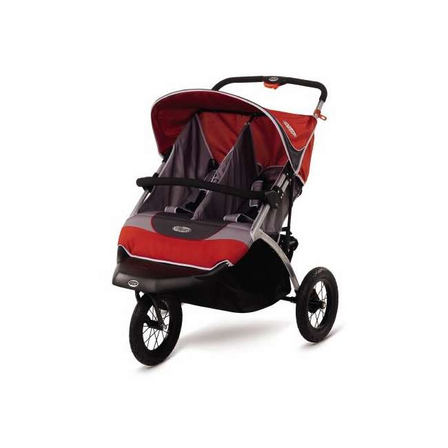 AR825-L InStep Suburban Safari 2 Swivel Double Jogging Stroller (Red/Gray)