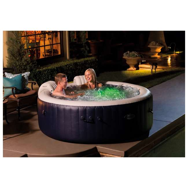 28429E Intex PureSpa Plus 4 Person Portable Inflatable Hot Tub Bubble Jet Spa, Blue 1
