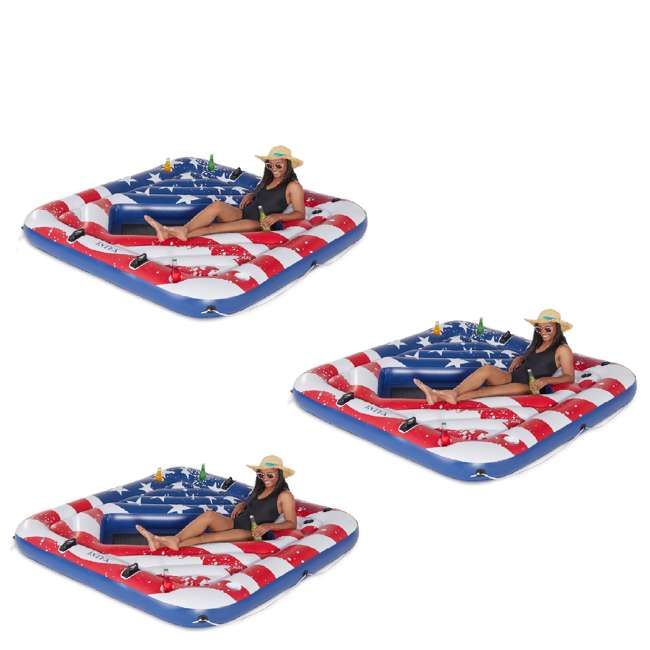 3 x 57264VM Intex 57264VM Inflatable American Flag 2 Person Party Island Lake Pool Float (3 Pack)