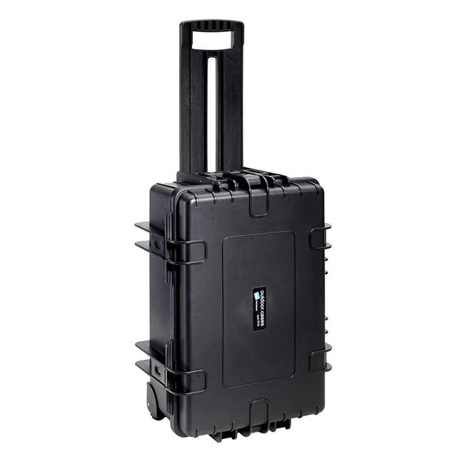 6700/B/SI + CS/3000 B&W 42.8L Plastic Waterproof Case w/ Wheels, Foam Insert & Shoulder Strap, Black 1