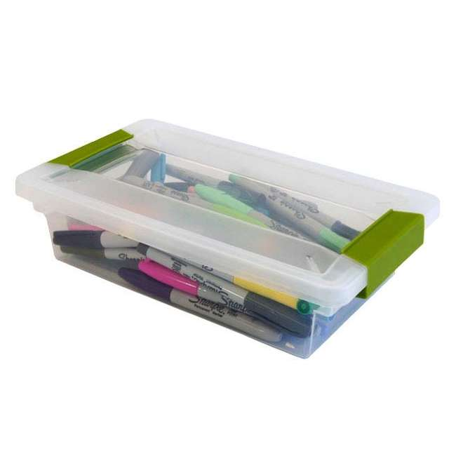 12 x 19618606-U-A Sterilite Small File Clip Box Clear Storage Tote Container (Open Box) (12 Pack) 1