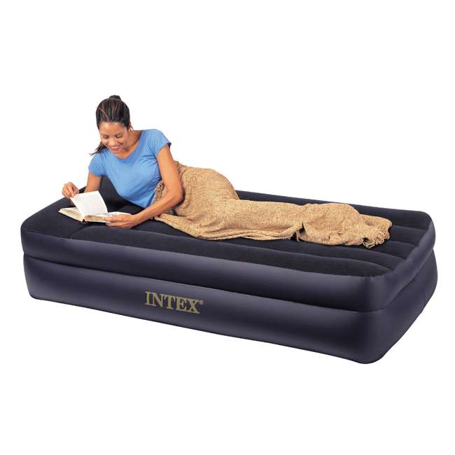 66705E Intex Pillow Rest Twin-Size Air Mattress w/ Built-In Pump & Pillow  1