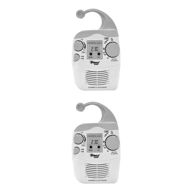 PSR6 Pyle PSR6 LCD Digital Hanging Waterproof AM/FM Shower Clock Radio (Pair)