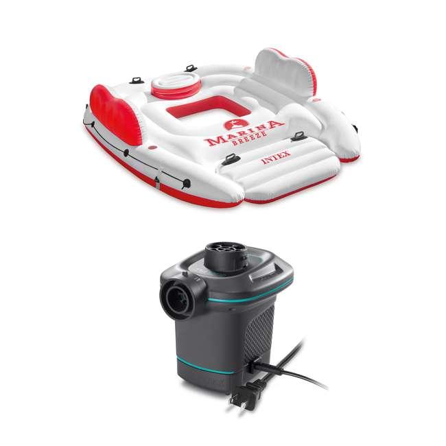 56296CA + 66639E Intex Inflatable Island Float Raft | Intex 120V Quick Fill AC Electric Air Pump