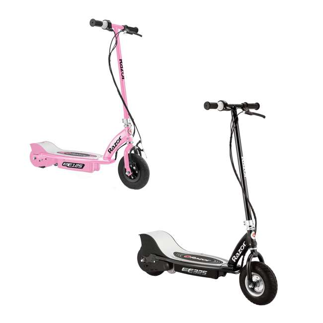 13116397 + 13111163 Razor Electric Motorized Scooters, 1 Black & 1 Pink