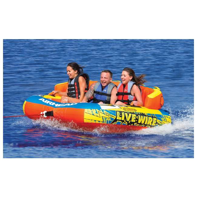 AHLW-3-U-A AIRHEAD Live Wire 3 Inflatable 1-3 Rider Boat Towable Lake Water Tube (Open Box) 1