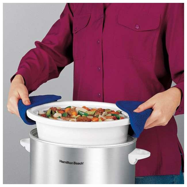 33140V + SLOWCOOKER175 Hamilton Beach Counter Top 4 Quart Oval Slow Cooker Pot & 175 Recipe Cookbook 4