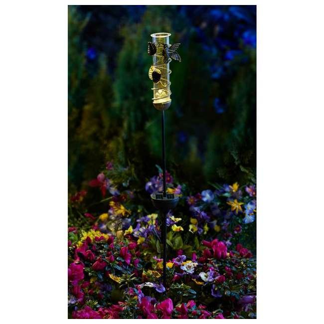 MR-95074 Moonrays 95074 Outdoor Hummingbird Rain Gauge and Solar Garden LED Stake Light 1