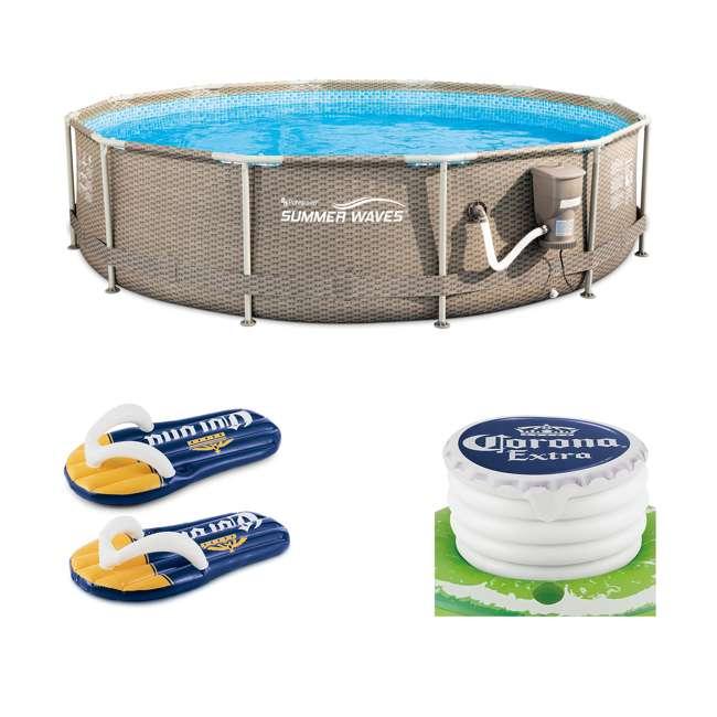 P20012335167 + K70927E00167 + KF0226B00167 Summer Waves 12 foot x 30 inch Pool + Corona Flip Flop Floats + Floating Cooler