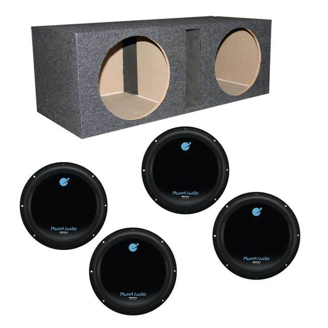 "4 x AC12D + QBASS12 Planet Audio 12"" 1800W Subwoofers (4 Pack) & Dual 12"" Vented Sub Box"