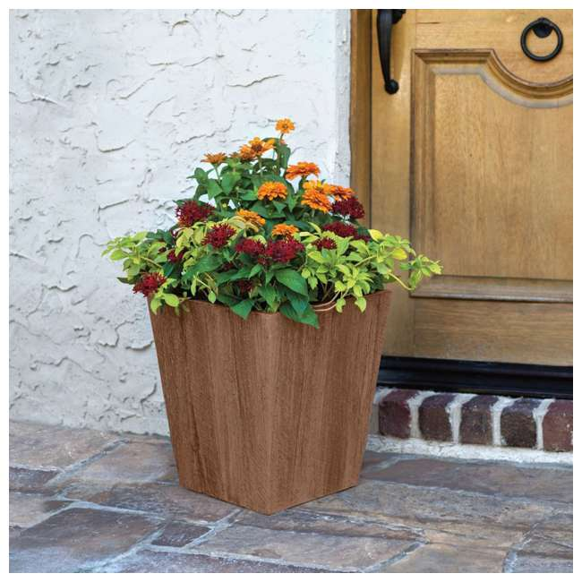 4 x 1619BP4 Suncast 16 Inch Farmington Rustic Wood Finish Garden Planter, Brown (4 Pack) 3