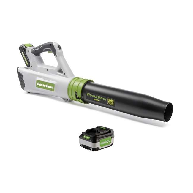 PBL120J + PLB12040 PowerSmith 20V Max Electric Powered Cordless Jet Leaf Blower with Extra Battery