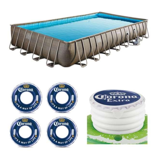 """P43216525167 + 4 x K10423D00167 + KF0226B00167 Summer Waves 32' x 16' x 52"""" Pool Set + Corona Floats + Corona Floating Cooler"""