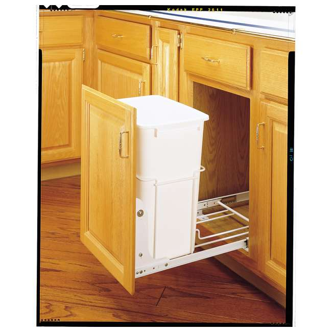 RV-18PB-1-20 Rev-A-Shelf RV-18PB-1 Single 35 Quart Base Cabinet Pull Out Waste Container 1