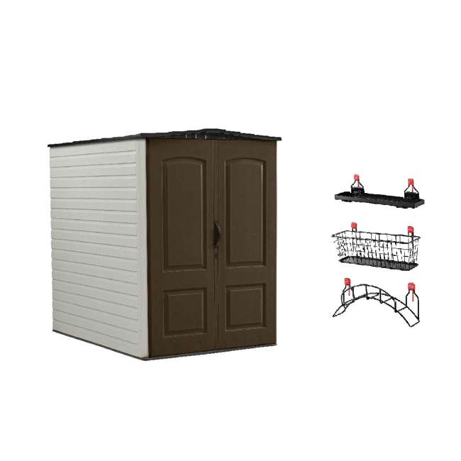 1967674 + 2024654 + 2024656 + 2024651 Rubbermaid 5'x6' Outdoor Gardening & Tools Vertical Storage Shed and Accessories