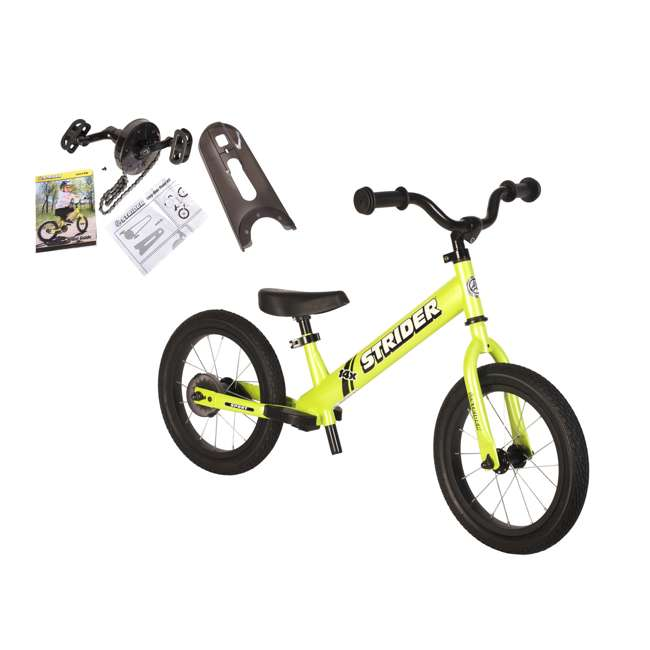 SK-SP1-US-GN Strider 14x 2-in-1 Kids Balance to Pedal Bike Kit, Green