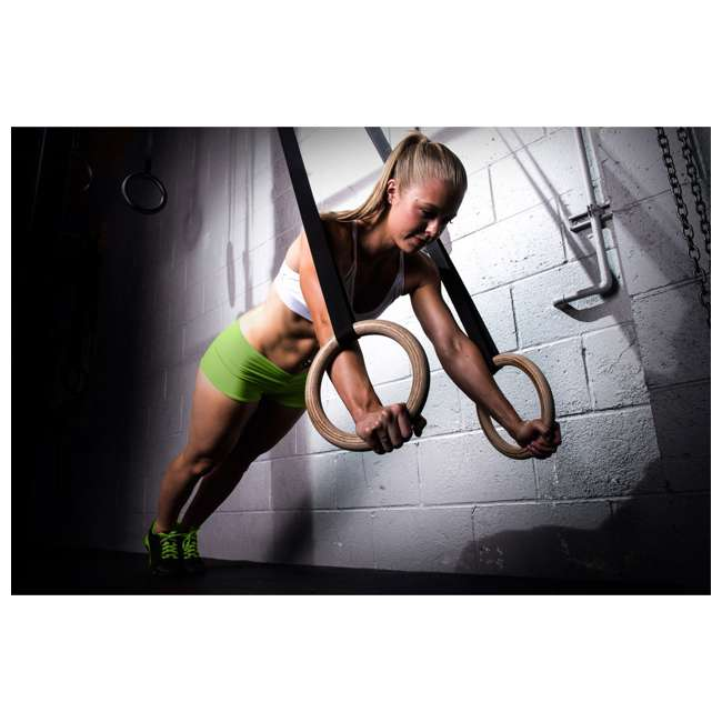 ps-1100-gr-wood Prosource Fit Wooden Exercise Fitness Workout Crossfit Pull Up Gymnastic Rings 3