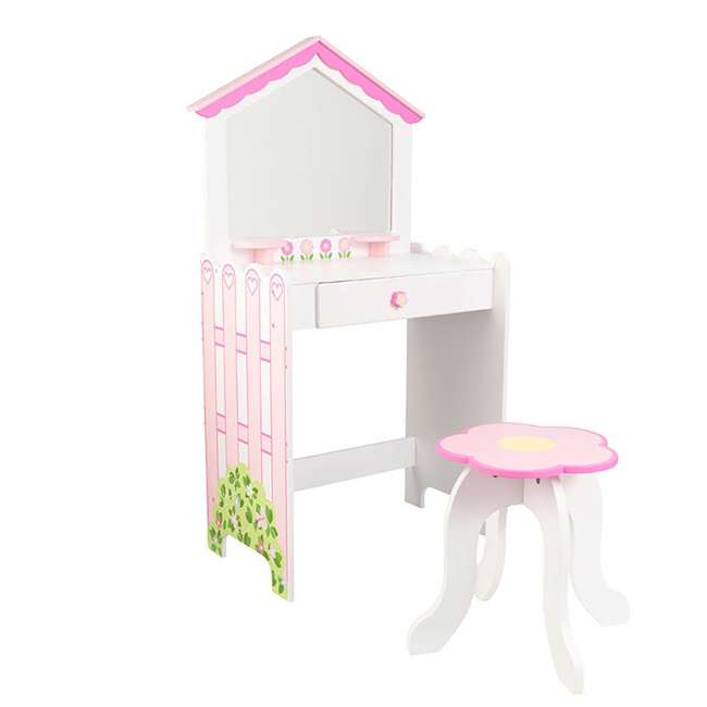 13035 KidKraft 13035 Durable Wooden Dollhouse Vanity and Seat Stool with Mirror, Pink