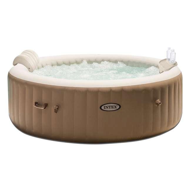 28403E + 28500E + 28501E Intex PureSpa 4-Person Inflatable Hot Tub with Drink Tray & Headrest