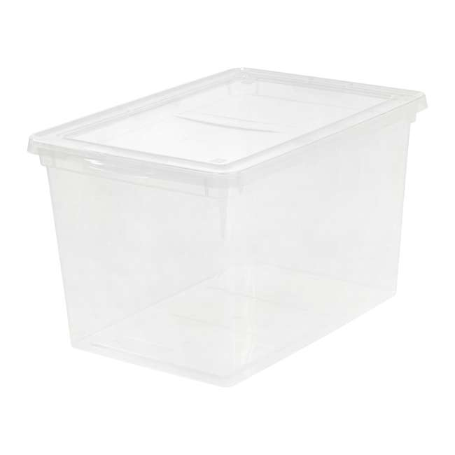 586875-6PK IRIS USA Extra Large Hard Plastic Stackable Closet Clear Storage Bin (12 Pack) 1