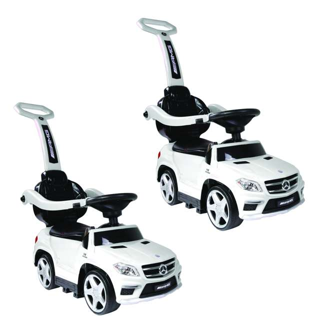 4 in 1 Mercedes Push Car White Ride On Cars Baby Mercedes Push Car Stroller w/ LED Lights, White (2 Pack)