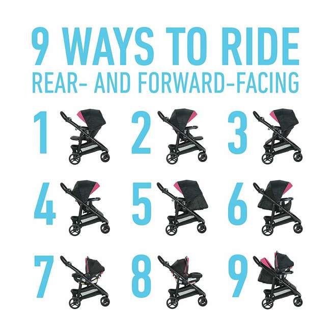 2081084 Graco Modes 3 Lite DLX Baby Stroller & Infant Car Seat Travel System, Arbis Pink 10