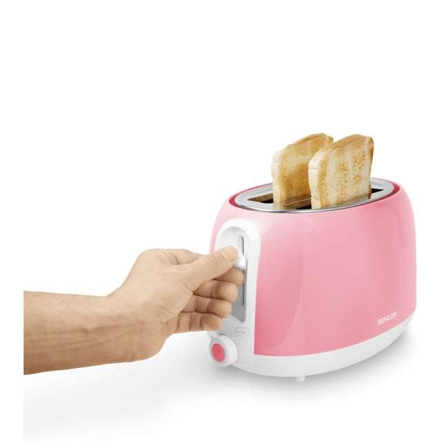 STS34RD-NAA1 Sencor STS34RD Electric Toaster with Electronic Timer and Crumb Tray, Pastel Red 4