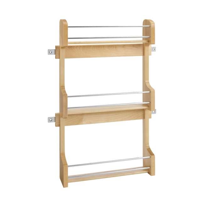 4SR-18 Rev-A-Shelf 18 Inch Cabinet Door Mount Wood 3 Shelf Spice Rack with Hardware