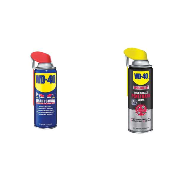 WD-490057 + WD-300004 WD-40 490057 Multi Use Lubricant with Smart Straw, w/ WD-40 Metal Rust Spray,