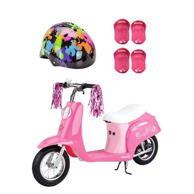 15130659 + 97913 + 96783 Razor Rechargeable Ride-on Scooter + Bicycle Helmet + Elbow & Knee Pad Set