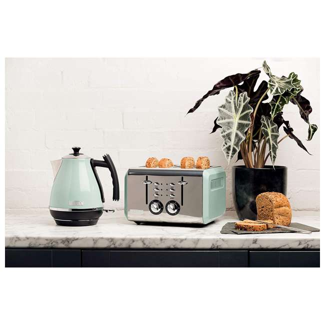 75008 Haden Cotswold 1.7 Liter Stainless Steel Body Retro Electric Kettle, Sage Green 4