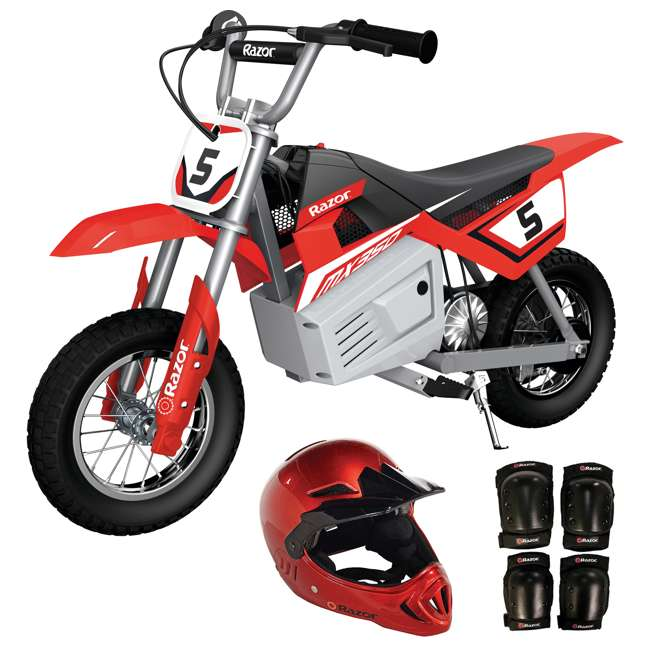 15128095 + 97880 + 96785 Razor MX350 Dirt Rocket Kids Electric Dirt Bike, Helmet, & Elbow & Knee Pad Set